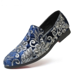 Men Casual Fashion Glitter Shoe Slip-on Shoes Loafers, Size:39(Blue)