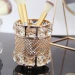 Hollow Makeup Brush Nail Pen Storage Box Desktop Crystal Pen Holder(Gold)