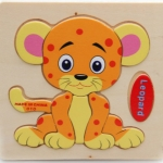 2 PCS Educational Toddler Wooden Toy Cartoon Animal 3D Puzzle(Leopard)