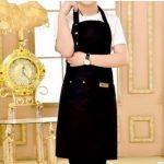 2 PCS Canvas Apron Milk Tea Coffee Shop Baking Restaurant Fashion Men and Women Overalls(Black)
