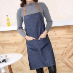 Sleeveless Denim Apron Halter Blue Denim Kitchen Overalls, Size:71x65cm(Blue)
