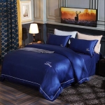 Silk Four-Piece Sheets Bed Sheet Double Nude Sleeping Quilt Cover Ice Silk Bedding 1.8M Bed(Azure)
