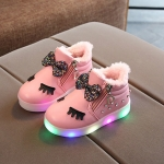 Kids Shoes Baby Infant Girls Eyelash Crystal Bowknot LED Luminous Boots Shoes Sneakers, Size:25(Pink with Cotton)