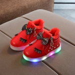 Kids Shoes Baby Infant Girls Eyelash Crystal Bowknot LED Luminous Boots Shoes Sneakers, Size:26(Red with Cotton)