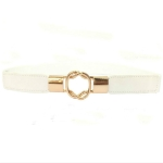 Women 8-button Buckle Double-loop Buckle Stretch PU Leather Thin Belt, Length:64cm(White)