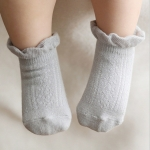 Girls Boys Cotton Summer Autumn Newborns Toddler Anti-Slip Socks, Kid Size:S(Grey)