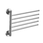 Stainless Steel Towel Bar Rotating Towel Rack Bathroom Kitchen Wall-mounted Towel Polished Rack Holder, Model:Brushed Five Poles