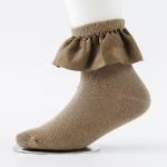 Spring And Autumn Fleece Big Lace Socks Girls Short Cotton Socks Princess Socks, Size:S(Pickles Green)