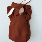 Cute Rabbit Ear Stereo Sleeping Bag Knitted Baby Quilt, Size:0-1 Years Old(Brown)