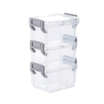 Desktop Transparent Covered Storage Box Sundries Organizing Storage Box, Layer:Three Layers(Gray)