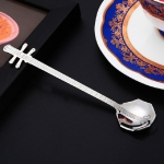 Stainless Steel Coffee Mixing Spoon Creative Musical Instrument Shape Spoon, Style:Octagonal, Color:Silver