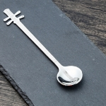 Stainless Steel Coffee Mixing Spoon Creative Musical Instrument Shape Spoon, Style:Yueqin, Color:Silver