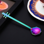 Stainless Steel Coffee Mixing Spoon Creative Musical Instrument Shape Spoon, Style:Octagonal, Color:Colorful