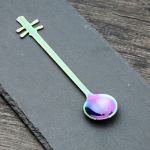 Stainless Steel Coffee Mixing Spoon Creative Musical Instrument Shape Spoon, Style:Yueqin, Color:Colorful