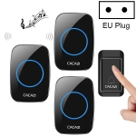 CACAZI A10G One Button Three Receivers Self-Powered Wireless Home Cordless Bell, EU Plug(Black)