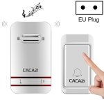 CACAZI V027G One Button One Receivers Self-Powered Wireless Home Kinetic Electronic Doorbell, EU Plug