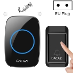 CACAZI A10G One Button One Receivers Self-Powered Wireless Home Cordless Bell, EU Plug(Black)