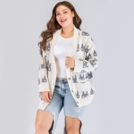 Plus Size Women Printed V-Neck Long Sleeve Sweater (White)