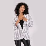 Deep V-neck Striped Suit Shirt (Color:White Size:S)