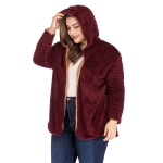 Plus Size Women Solid Color Plush Hooded Coat (Color:Wine Red Size:XL)