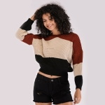 Round Neck Long Sleeve Colorblock Waist Sweater(Color:As Show Size:One Size)
