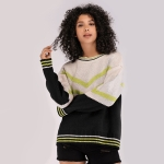 V-neck Long Sleeve Colorblock Loose Sweater