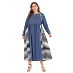 Women Striped Denim High Waist Round Neck Long Sleeve Dress (Color:Blue Size:XL)