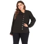 Plus Size Women Pure Color Pullover V-Neck Long Sleeve Blouse (Color:Black Size:XL)