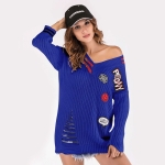 V-neck Long Sleeve Patch Loose Sweater(Color:Blue Size:One Size)