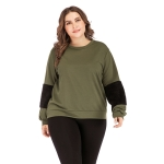 Plus Size Women Pullover Round Neck Long Sleeve Blouse (Color:Army Green Size:XL)
