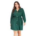 Plus Size Women Solid Color Strap POLO Collar Long Sleeve Mid-length Coat (Color:Green Size:XL)