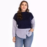 Plus Size Women Striped Round Neck Long Sleeve Blouse (Color:Blue Size:XL)