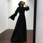 Small Stand Collar Heavy Industry Embroidered Beaded  Flare Sleeve Long Dress (Color:Black Size:M)