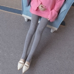 Knee Embroidery Combed Cotton Step On The Foot Leggings (Color:Light Grey Size:One Size)