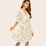 Printed Chiffon Short Sleeve Dress (Color:As Show Size:S)