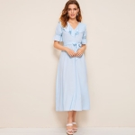 Solid Color Long Dress (Color:Blue Size:M)