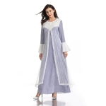 Women Beaded Striped Round Neck Flare Sleeve Dress (Color:Blue Stripes Size:M)