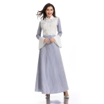 Women Shirt Collar Beaded Embroidered Striped Flare Sleeve Dress (Color:Blue Stripes Size:L)