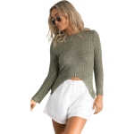 Irregular Cutout High-elastic Knit Slim Fit Sweater (Color:Green Size:L)
