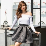 High Waist Fashion Wild Skirt (Color:Black Size:S)