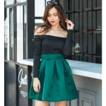 High Waist Fashion Wild Skirt (Color:Green Size:XL)