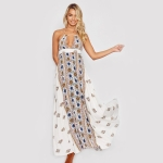 Halter Printed Dress (Color:White Size:M)