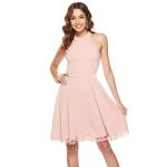 Women Hollow Sleeveless Round Neck Midi Dress (Color:Pink Size:M)