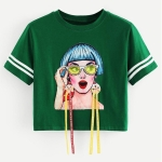 Individual Patch Short T-shirt (Color:Green Size:S)