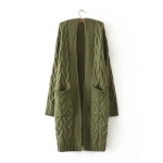 Women Winter Round Neck Long Sleeve Mid-Long Knit Sweater Coat (Color:Green Size:One Size)