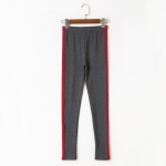 Women Striped Base Casual Pants (Color:Dark Gray Size:S)