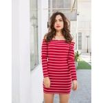 Off-the-shoulder Long Sleeve Stripes Dress (Color:Red Size:S)