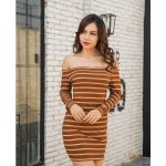 Off-the-shoulder Long Sleeve Stripes Dress (Color:Yellow Size:S)