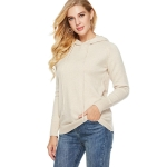 Women Round Neck Long Sleeve Pullover (Color:Beige Size:One Size)