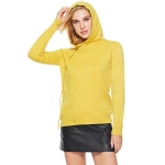 Women Round Neck Long Sleeve Pullover (Color:Yellow Size:One Size)